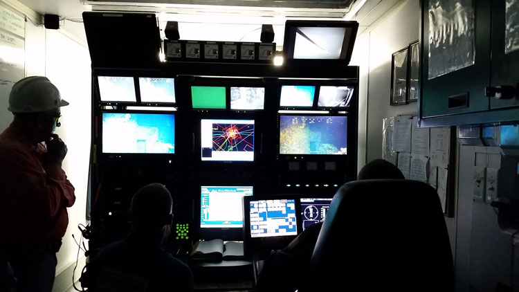 Offshore engineers - control room showing subsea services